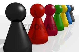ludo figures 3d illustration politics game colorful