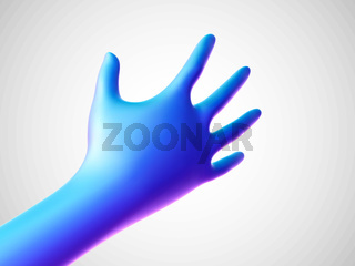 3D blue hand offering for handshake on white background.