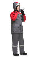Male in winter workwear isolated view