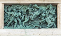Budapest, HUNGARY - FEBRUARY 15, 2015 - Bronze bas-relief of memorial in Heroes square