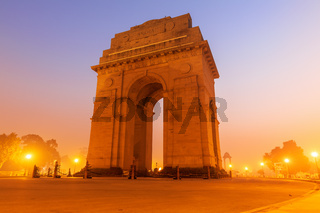 India Gate in New Delhi, evening view