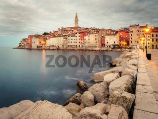 Long Exposure of city of rovinj in istria croatia