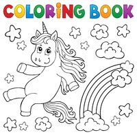 Coloring book cute unicorn topic 2