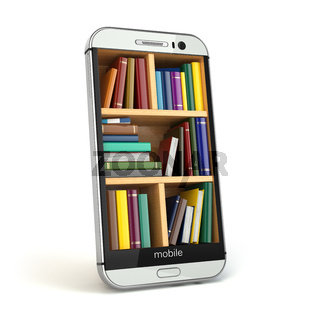 E-learning education or internet library concept. Smartphone and books.