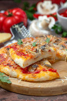 Pizza with vegetables, mushrooms and cheese.