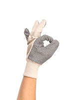 Garden gloves showing a ok sign