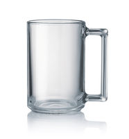 Side view of empty clear glass mug