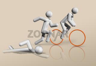 Triathlon 3D icon, Olympic sports