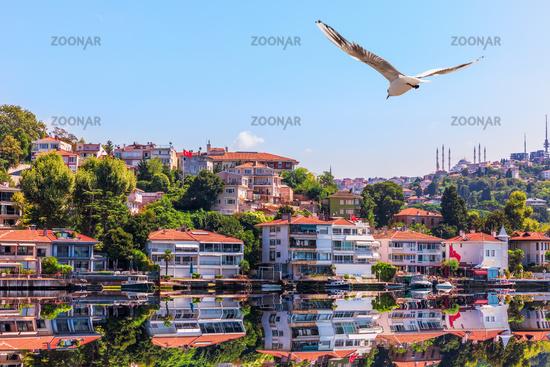 Uskudar buildings on the pier by the Bosphorus, Istanbul, Turkey