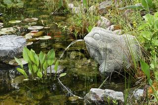 wasserspeiernder Frosch aus Stein am Gartenteich