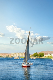 Sailboat riding on Nile