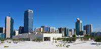 Urban landscape of Abu Dhabi, UAE. Clear Sunny day 12 March 2020