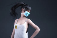 Artistic 3D illustration of a woman with protective mask