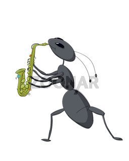 Cute ant playing saxophone