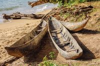 traditional wooden fishing boat on Masoala, Madagascar