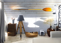 Light living room with lamps and paddle on wall