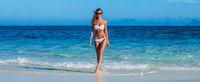 Pretty girl in bikini at sea