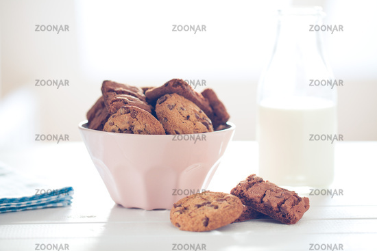 chocolate cookies on white table