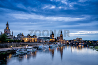 view of the Saxon capital city Dresden and the Elbe River after sunset