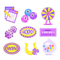 Bingo lotto icon set. Lottery win jackpot badges with horseshoe, lottery drum, tickets, wheel of fortune, check. Flat modern vector illustration