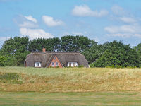Reetdachhaus am Deich von Eiderstedt, Schleswig-Holstein, Deutschland