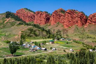 Wierd rock formation Seven bulls in Kirghizia