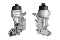 Engine oil filter housing with cooler on a white background