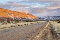 Winter sunset over Castle Valley in Utah