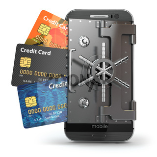 Safety of mobile banking concept. Secure online payment. Smartphone as vault and credit cards.