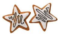 Two Gingerbread Stars Isolated On White Background