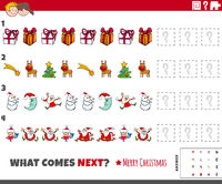 educational pattern task for kids with cartoon Christmas characters