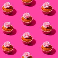 Stylized image of a cupcake and sakura flower as a pattern