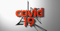 covid 19 red lettering of three dimensional letters and numbers against a cracking white wall. 3d illustration