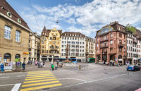 Fish Market Square in the center of Basel. Switzerland