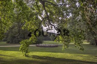 Greizer Park - Blumenrabatte zwischen den Baeumen