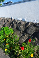 Sommerblumen an einer Gartenmauer