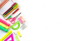 School and Office drawing supplies isolated on white background. Back to school. Free space for text.