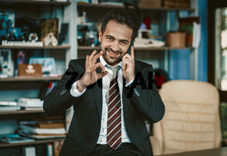 Successful Busy Business Man Shows Ok Using Phone