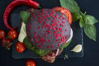 Black hamburger with hearts
