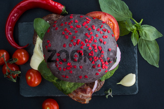 Black hamburger with hearts