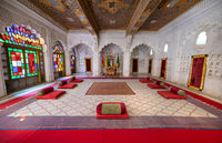 Raj Mahal Palace, former residence of the Maharawal of Jaisalmer. Pearl Palace is one of the oldest surviving period rooms in the fort. Fort is situated in the city of Jaisalmer, in the India