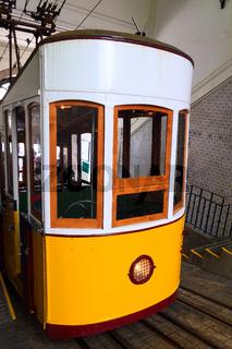 Lisbon, Portugal yellow funicular tram