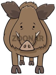 funny wild boar cartoon animal character