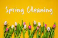 Colorful Tulip, Spring Flowers, Text Spring Cleaning, Yellow Background