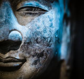 ancient stone buddha closeup