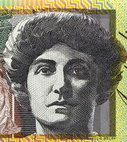 Dame Nellie Melba (1861-1931) on 100 Dollars 1996 banknote from Australia. Australian operatic soprano.