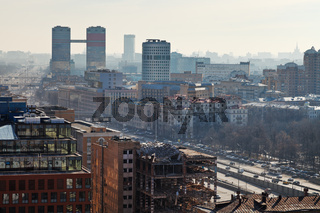 leningradsky prospekt in Moscow in day with smog
