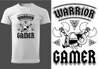 Weißes T-Shirt mit Beschriftungs Kriegers Gamer