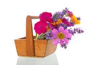 Flower bouquet in harvest basket