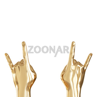 Two golden hands with two fingers raised up on a white background. Back view. Copyspace. 3d rendering